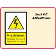 Znak drogowy dodatkowy przed przejazdami kolejowymi G-2